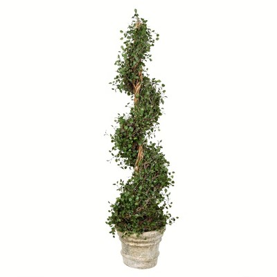Vickerman Artificial Potted Green Angel Vine Spiral Tree.