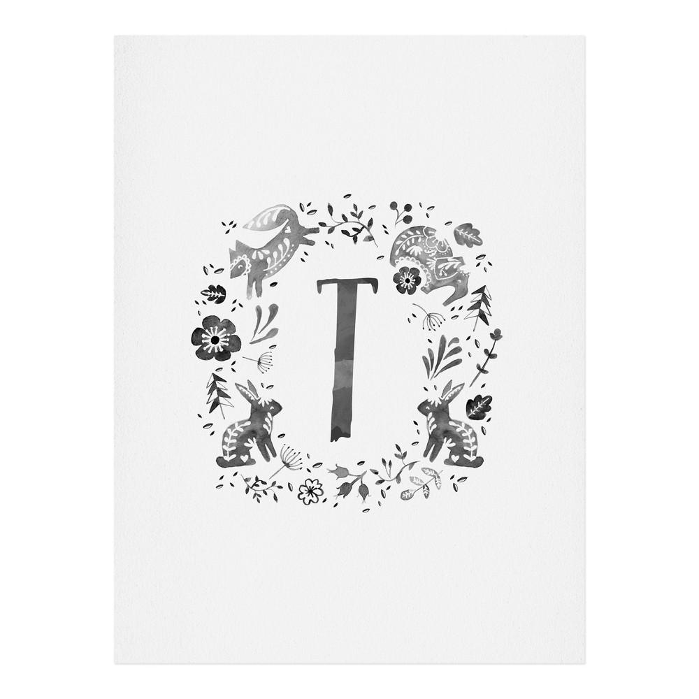 "Image of ""11""""x14"""" Wonder Forest Folky Forest Monogram Letter """"T"""" Art Print Unframed Wall Poster Gray - Deny Designs"""