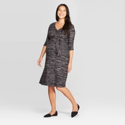 Maternity Long Sleeve Cozy Tie Front Dress - Isabel Maternity by Ingrid & Isabel™ Black