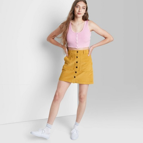 Women's Button-Front Cord Mini A-Line Skirt - Wild Fable™ - image 1 of 3