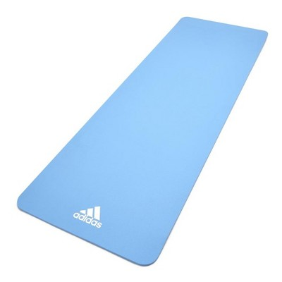 Adidas ADYG-10100GB Universal Exercise Roll Up Slip Resistant Fitness Pilates and Yoga Mat, 8mm Thick, Glow Blue