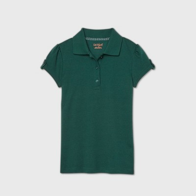 Girls' Short Sleeve Interlock Uniform Polo Shirt - Cat & Jack™ Dark Green
