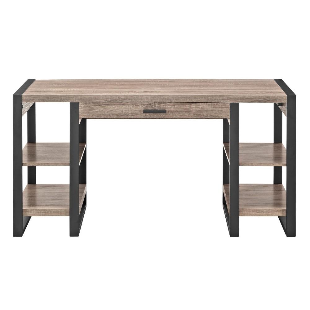 Home Office 60 Wood Storage Computer Desk - Driftwood (Brown) - Saracina Home