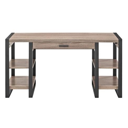 60 Home Office Wood Storage Computer Desk Light Brown Saracina