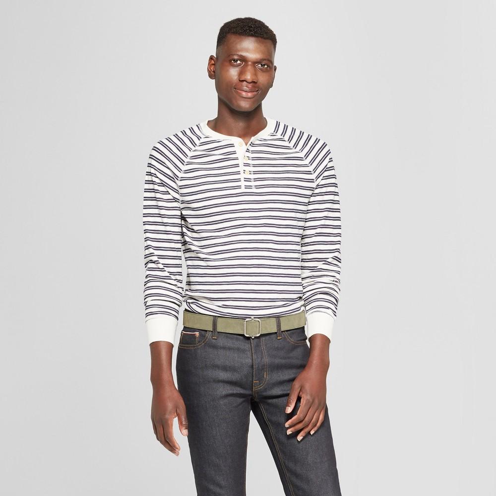 Men's Striped Standard Fit Long Sleeve Jersey Henley Shirt - Goodfellow & Co White S