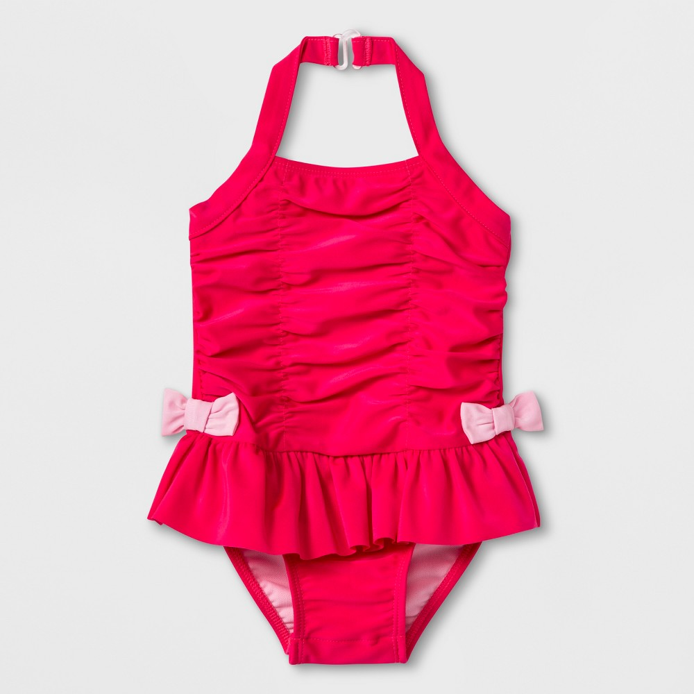 Baby Girls' Ruffle Bow One Piece Swimsuit - Cat & Jack Pink 9M
