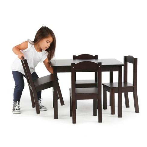 Wood Table 4 Chairs Espresso Tot Tutors All