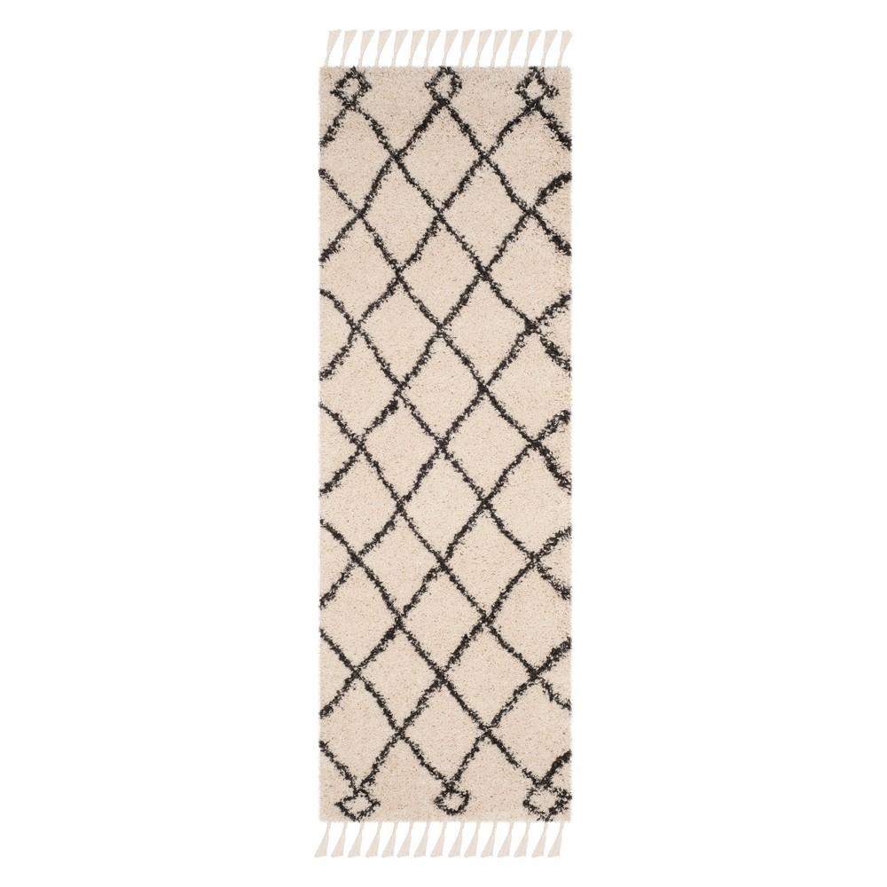 23X7 Geometric Runner Cream/Charcoal - Safavieh Cheap