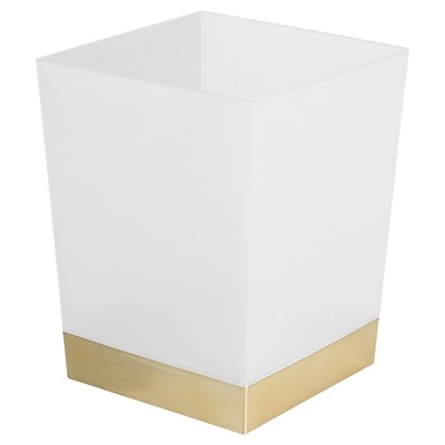 Square Bathroom Wastebasket Frost/Soft Brass - iDESIGN
