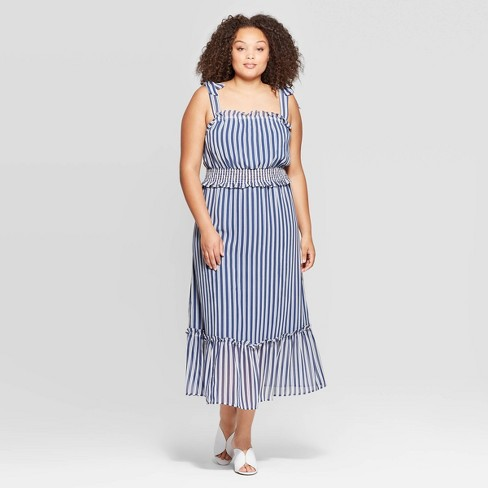 Women\'s Plus Size Striped Sleeveless Square Neck Shoulder Tie Column Dress  - Who What Wear™ Eco White 1X