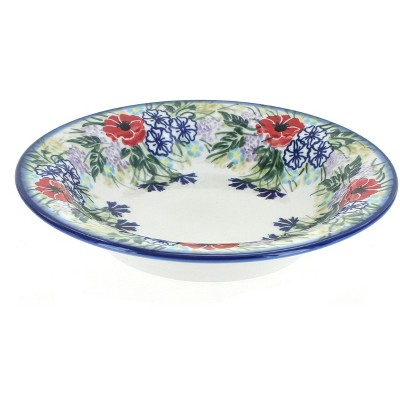 Blue Rose Polish Pottery Summer Garden Soup Plate with Rim