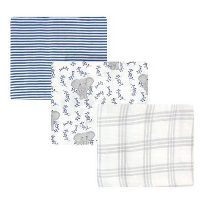 Touched by Nature Baby Organic Cotton Muslin Swaddle Blanket, Blue Elephant, One Size
