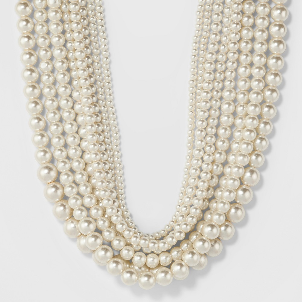 Short Faux Pearl Multi Row Necklace - A New Day White