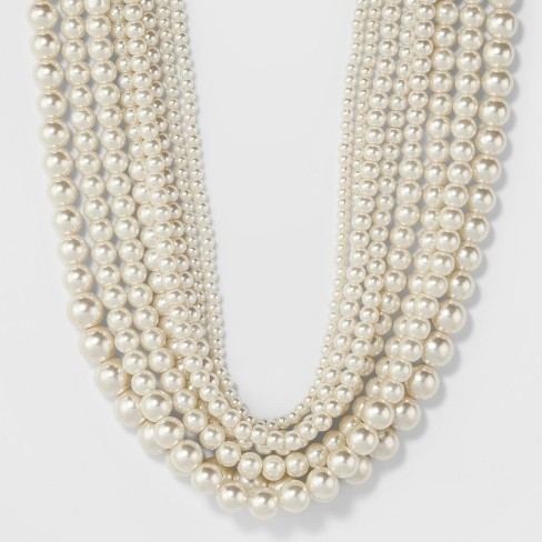Short Faux Pearl Multi Row Necklace - A New Day™ White - image 1 of 3