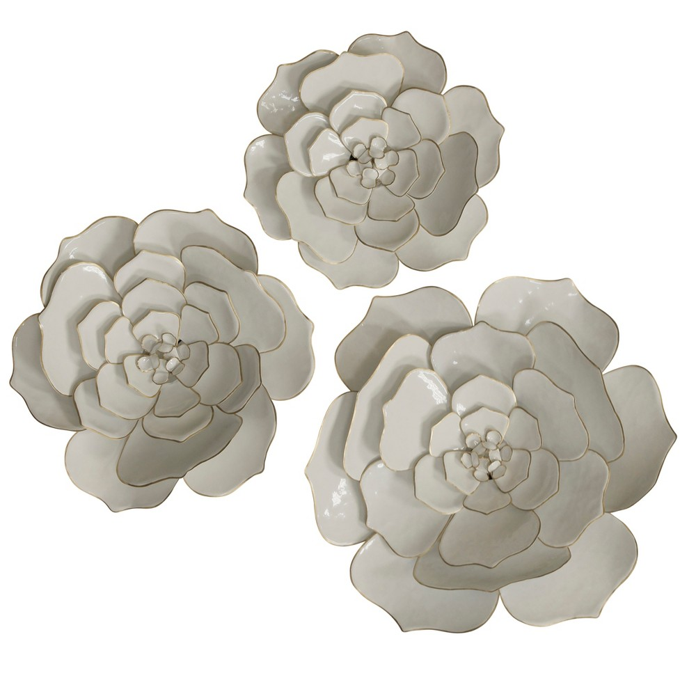 24 3pc Floral Metal Decorative Wall Art White - StyleCraft