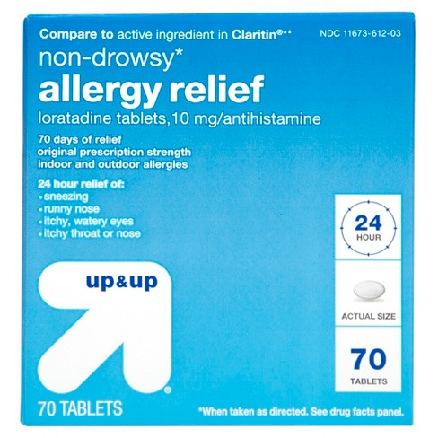 Loratadine Antihistamine 10mg Non Drowsy Allergy Relief Tablets - 70ct - Up&Up™ (Compare to active ingredient in Claritin) - image 1 of 5