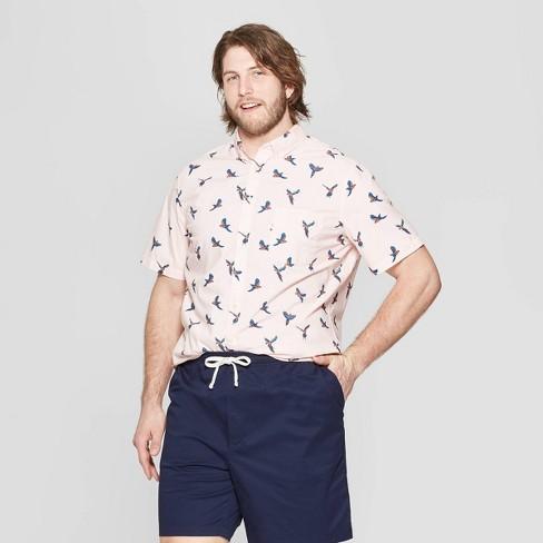 Men's Big & Tall Printed Standard Fit Short Sleeve Poplin Button-Down Shirt - Goodfellow & Co™ Dusk Pink - image 1 of 3
