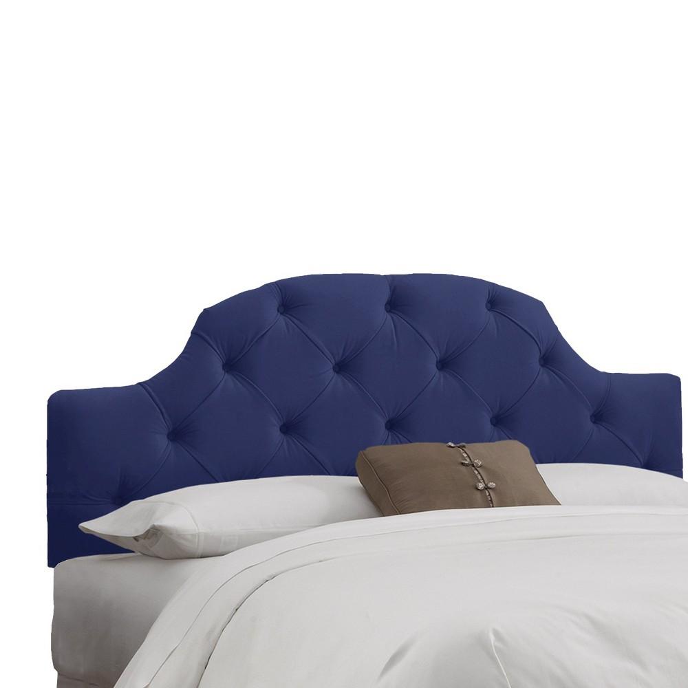 Full Upholstered Curved Tufted Headboard Velvet Navy - Skyline Furniture Cheap