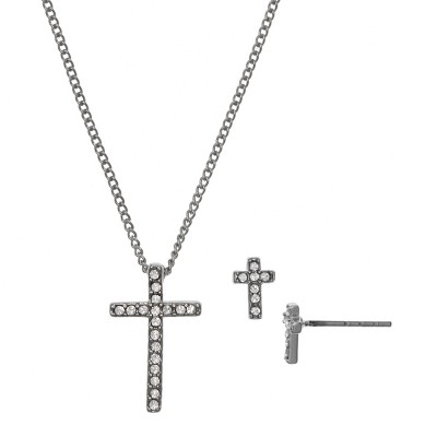 FAO Schwartz Fine Silver Plated Cross Pendant Necklace and Earring Set