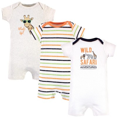 Hudson Baby Infant Boy Cotton Rompers, Wild Safari