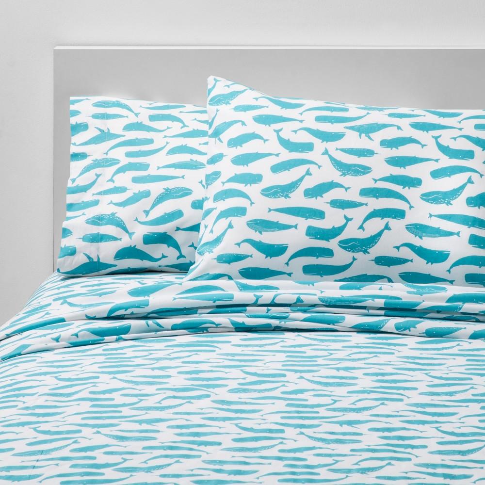 4pc Full Friendly Fins Cotton Sheet Set Blue - Pillowfort