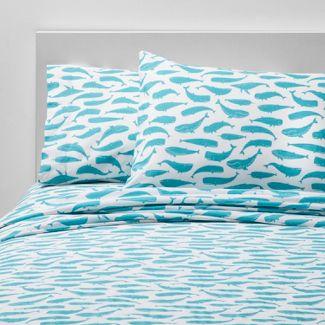 3pc Toddler Friendly Fins Cotton Sheet Set Blue - Pillowfort™