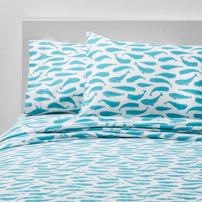 Friendly Fins Cotton Sheet Set Blue - Pillowfort™ - image 1 of 5