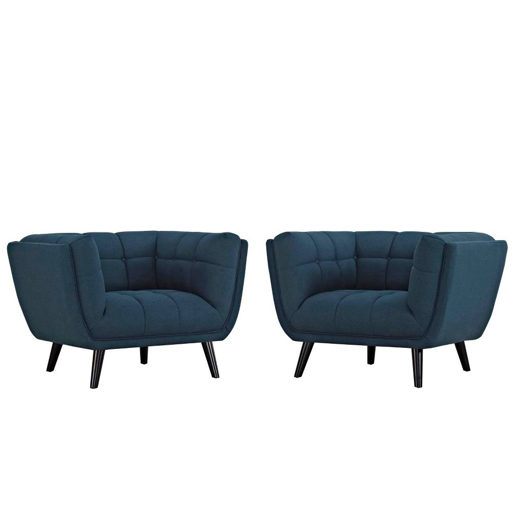 Image of 2pc Bestow Upholstered Fabric Armchair Set Blue - Modway