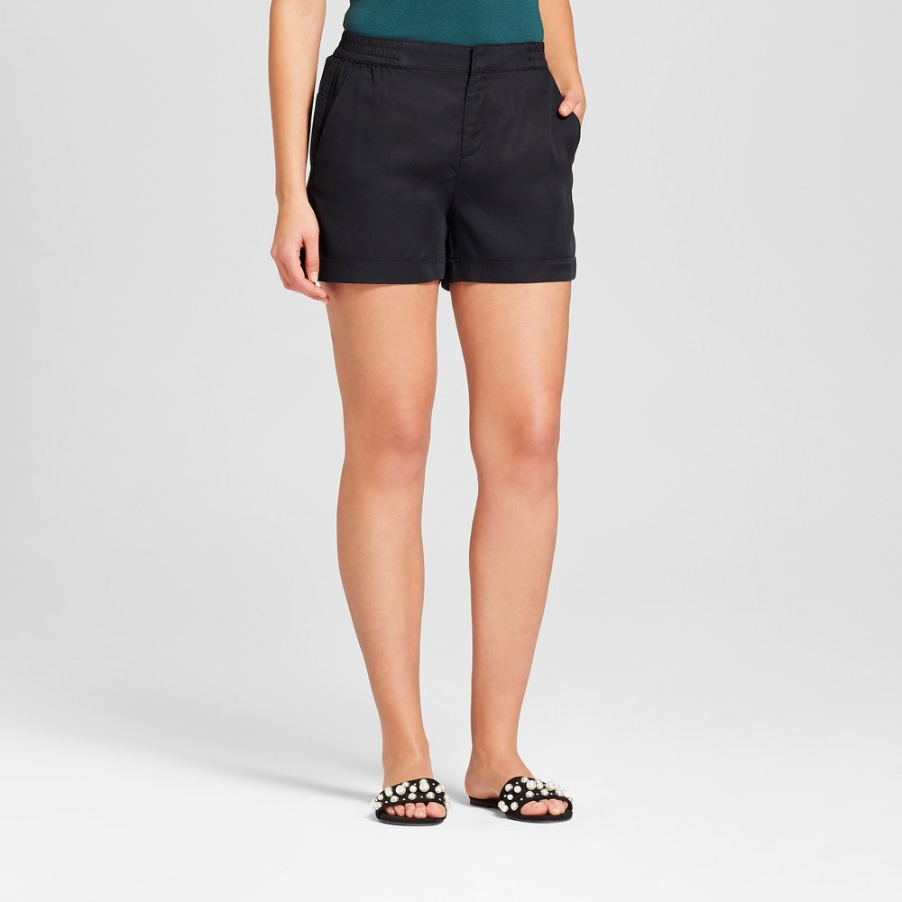 Women's Easy Waist Twill Shorts - A New Day Black M