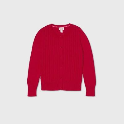 Girls' Crew Neck Cable Knit Uniform Cardigan - Cat & Jack™ Red