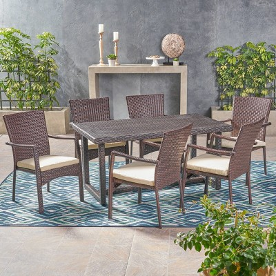 Westley 7pc Wicker Patio Dining Set - Brown - Christopher Knight Home