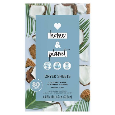 Love Home & Planet Coconut Water & Mimosa Flower Dryer Sheets - 80ct