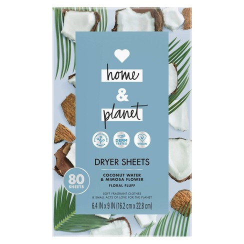 Love Home & Planet Coconut Water & Mimosa Flower Dryer Sheets - 80ct - image 1 of 4
