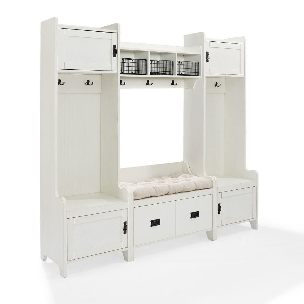 Image of 4pc Fremont Entryway Kit Two Towers Bench and Shelf White - Crosley