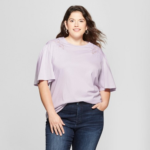e72501320a4 Women s Plus Size Short Sleeve T-Shirt with Crochet Detail - Ava   Viv™