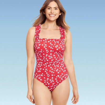 Women's Slimming Control Ruffle Strap One Piece Swimsuit - Beach Betty by Miracle Brands Red Floral