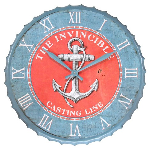 Anchor Decorative Wall Clock Blue/Red - Infinity Instruments® - image 1 of 2