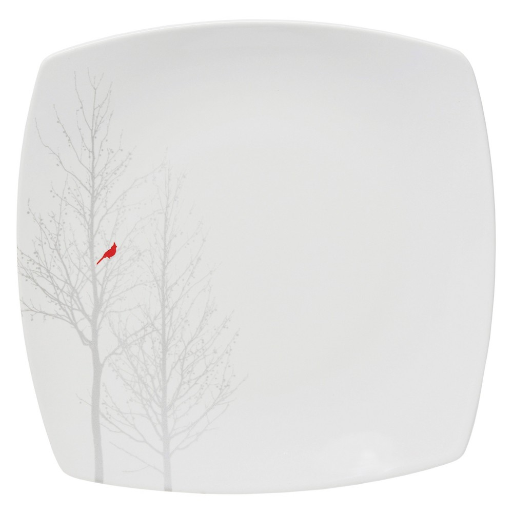 Image of 222 Fifth Winter Cardinal Square Dinner Plates 10 White - Set of 4