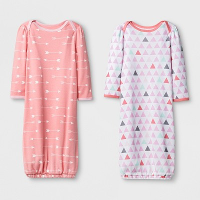 Baby Girls' 2pk Gown Set Cloud Island™ - Pink/Coral 0-6M