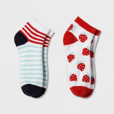 Women's 2pk Strawberries Cozy Low Cut Socks - Xhilaration™ White One Size
