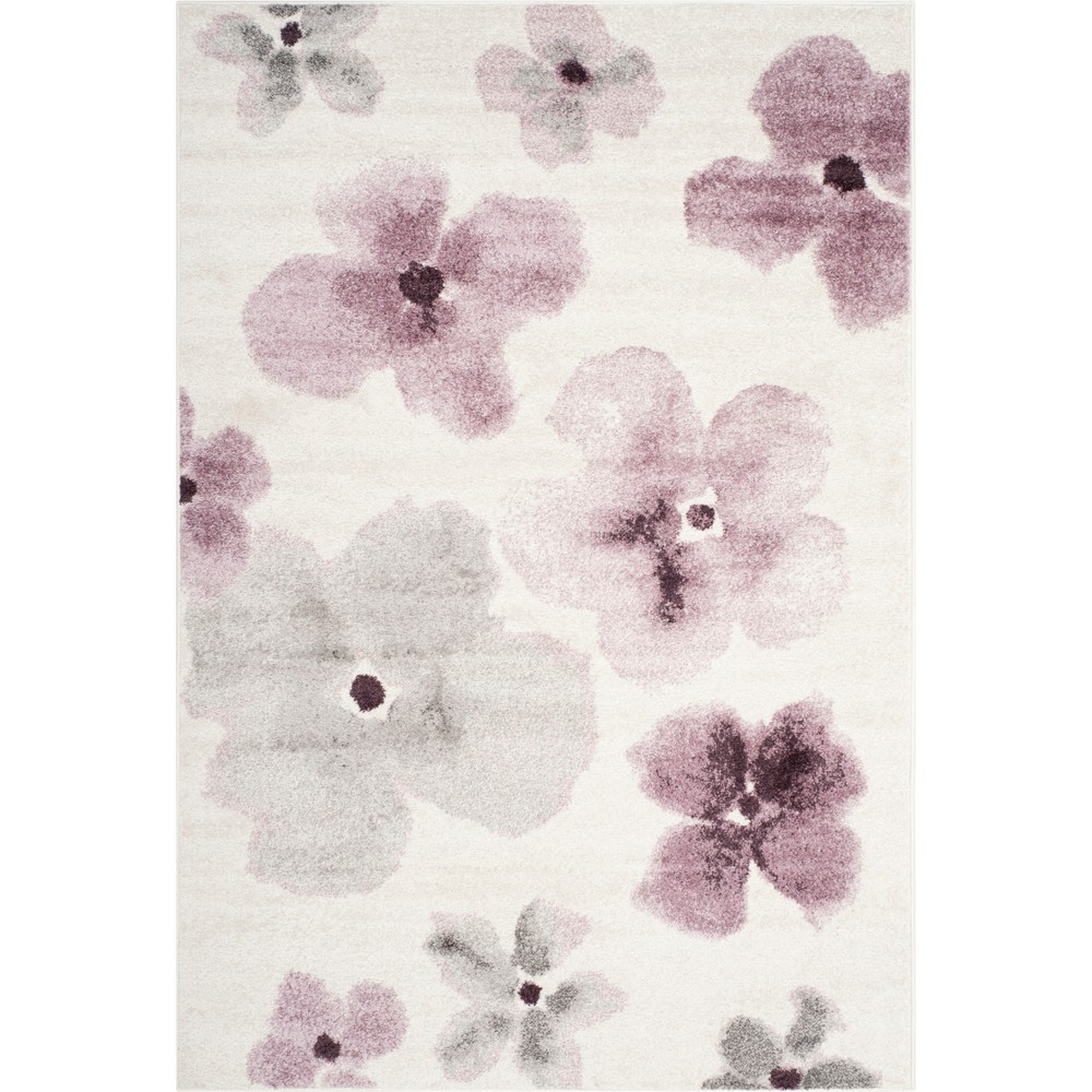 4'X6' Floral Loomed Area Rug Ivory/Purple - Safavieh
