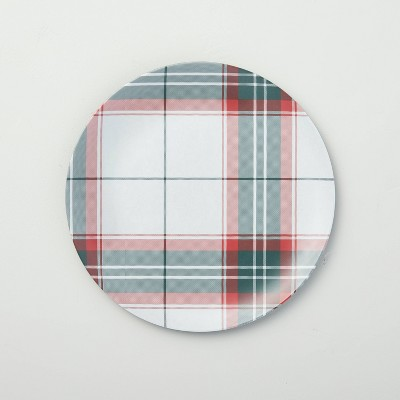 Holiday Plaid Melamine Salad Plate Red/Green - Hearth & Hand™ with Magnolia