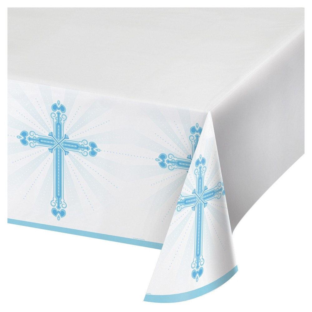 Religious Blessings Blue Plastic Tablecloth