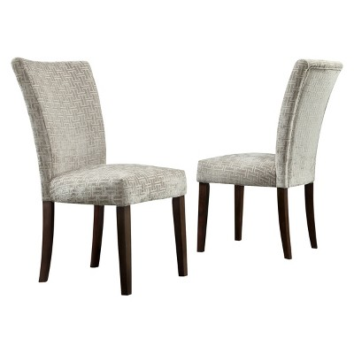 Set of 2 Quinby Parson Dining Chair Wood Velvety Fret Link - Inspire Q