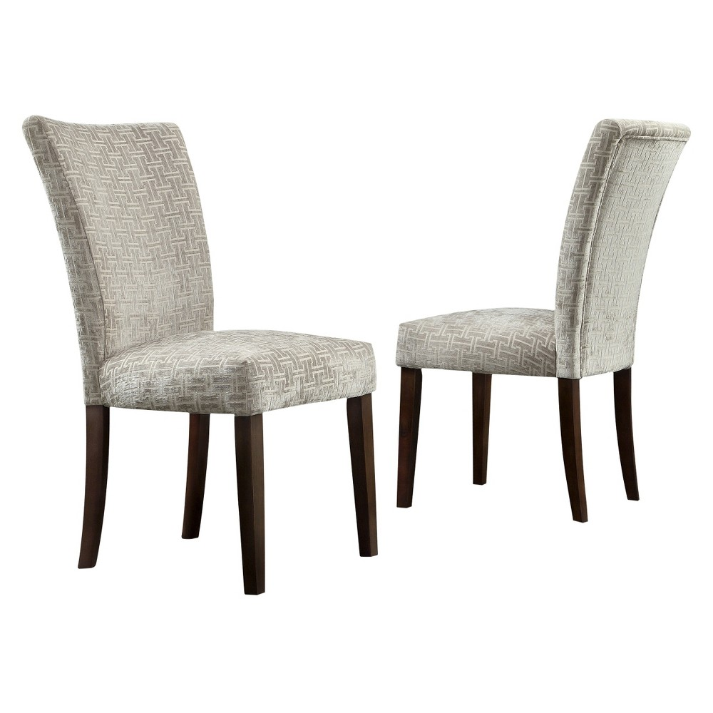 Quinby Parson Dining Chair Wood/Velvety Fret Link (Set of 2) - Inspire Q, Gray