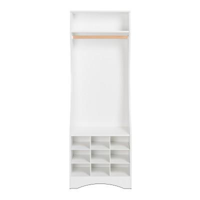 Narrow Wardrobe with Shoe Storage White - Prepac