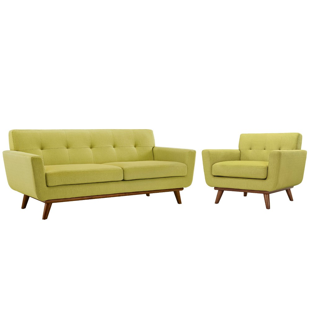 Engage Armchair and Loveseat Set of 2 Wheat - Modway