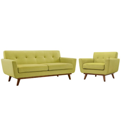 Engage Armchair and Loveseat Set of 2 Wheat - Modway - image 1 of 6