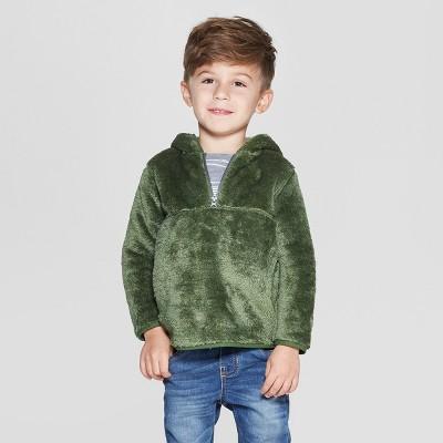 Toddler Boys' Teddy Bear Fleece Hoodie - Cat & Jack™ Green 12M