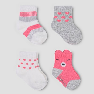 Baby Boys' 4pk Bear Crew Socks - Just One You® made by carter's Pink/Gray 0-3M